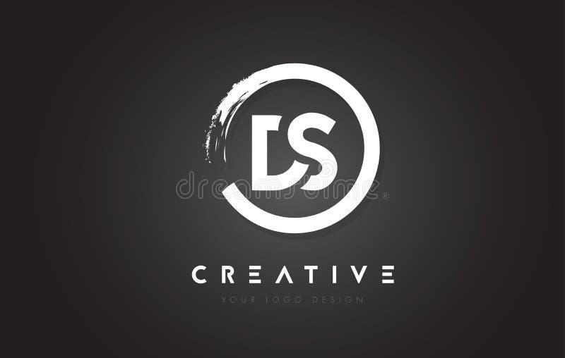 Logotipo da letra circular do DS com projeto da escova do círculo e preto Backg ilustração stock