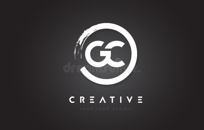 Logotipo da letra circular do GC com projeto da escova do círculo e preto Backg ilustração do vetor