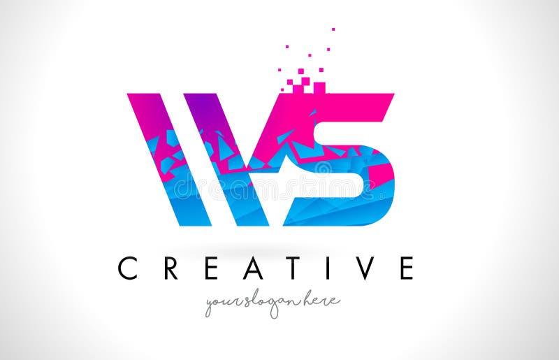 Logotipo da letra da WS W S com textura cor-de-rosa azul quebrada quebrada Desig ilustração do vetor