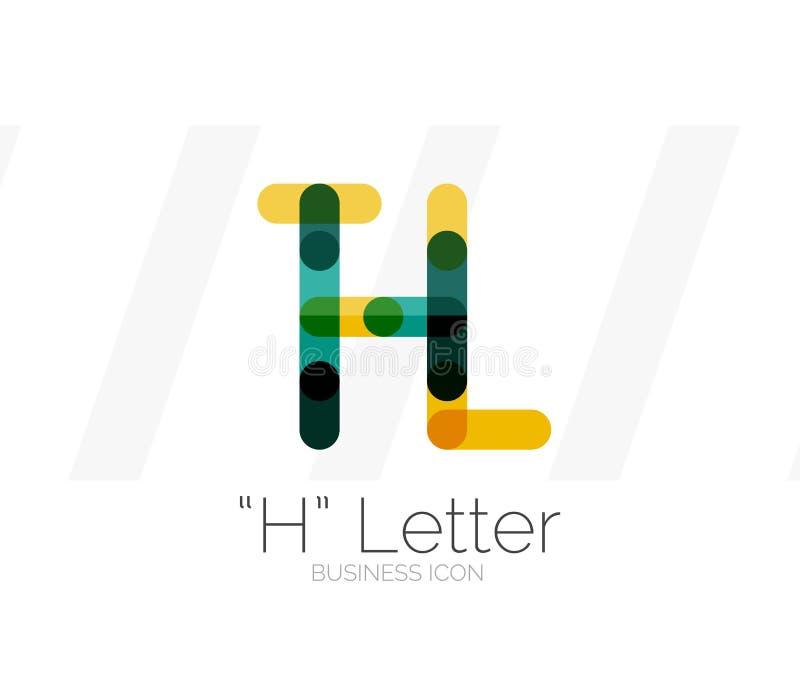 Logotipo da letra de H, linha mínima projeto ilustração do vetor