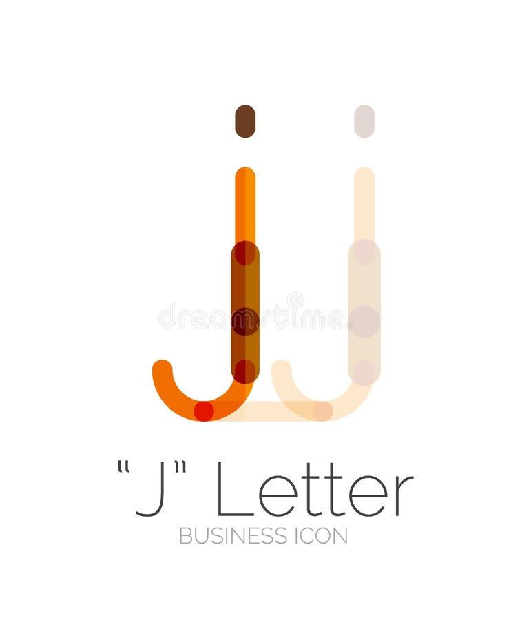 Logotipo da letra de J, linha mínima projeto ilustração stock