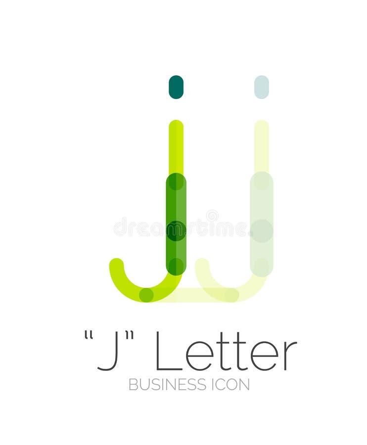 Logotipo da letra de J, linha mínima projeto ilustração royalty free
