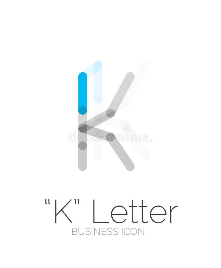 Logotipo da letra de K, linha mínima projeto ilustração stock