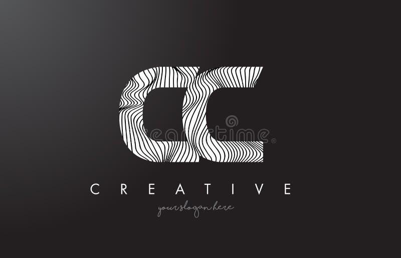 Logotipo da letra do centímetro cúbico C C com linhas vetor da zebra do projeto da textura ilustração royalty free