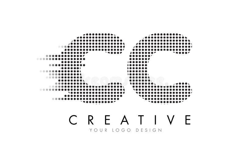Logotipo da letra do centímetro cúbico C C com pontos e as fugas pretos ilustração do vetor