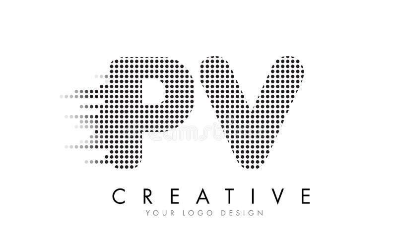 Logotipo da letra do picovolt P V com pontos e as fugas pretos ilustração do vetor