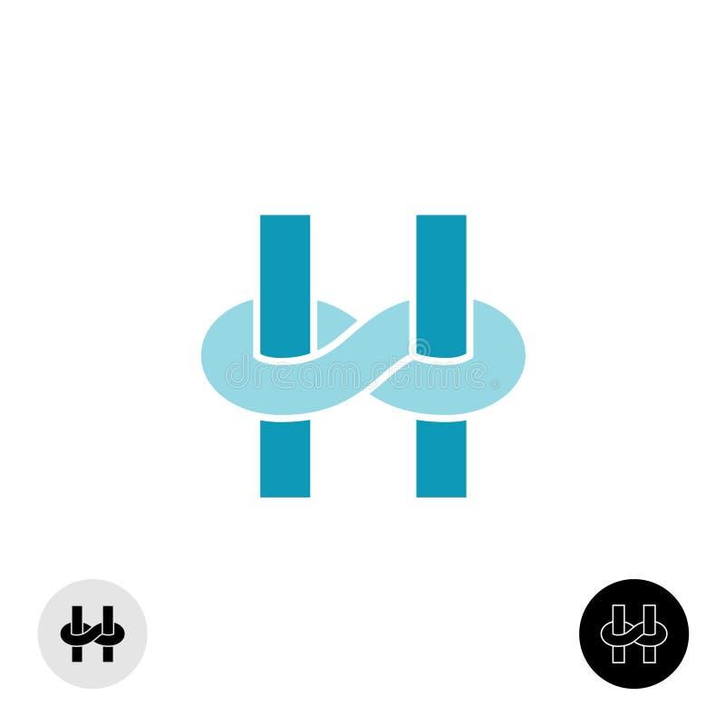 Logotipo da letra H com relação do nó da infinidade ilustração do vetor