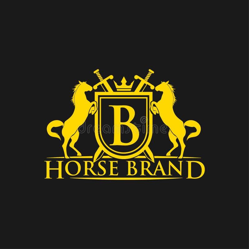 Logotipo da letra inicial B Vetor do projeto do logotipo do tipo do cavalo Crista dourada retro com protetor e cavalos Molde herá ilustração do vetor