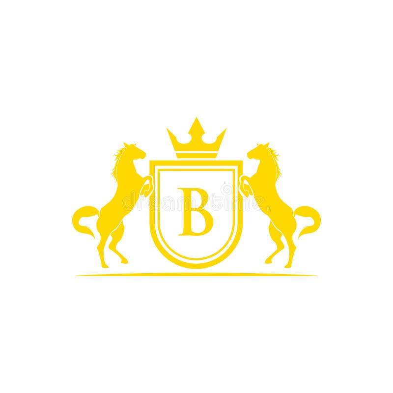 Logotipo da letra inicial B Vetor do projeto do logotipo do tipo do cavalo Crista dourada retro com protetor e cavalos Molde herá ilustração royalty free