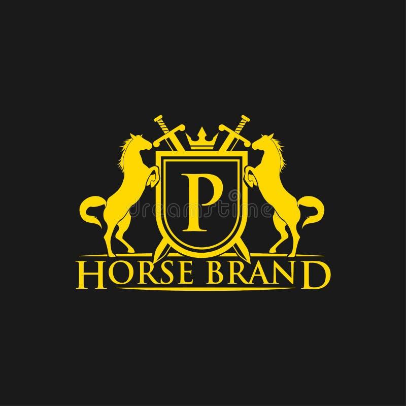 Logotipo da letra inicial P Vetor do projeto do logotipo do tipo do cavalo Crista dourada retro com protetor e cavalos Molde herá ilustração stock