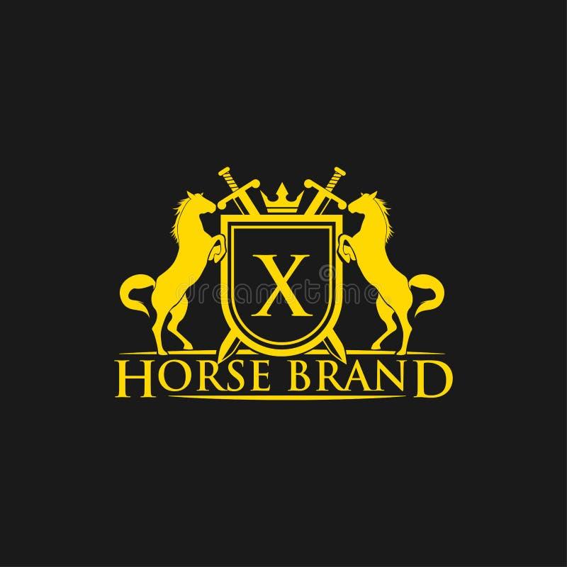 Logotipo da letra inicial X Vetor do projeto do logotipo do tipo do cavalo Crista dourada retro com protetor e cavalos Molde herá ilustração stock