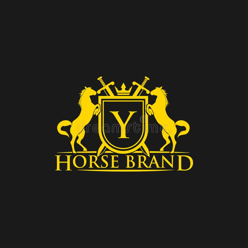 Logotipo da letra inicial Y Vetor do projeto do logotipo do tipo do cavalo Crista dourada retro com protetor e cavalos Molde herá ilustração royalty free