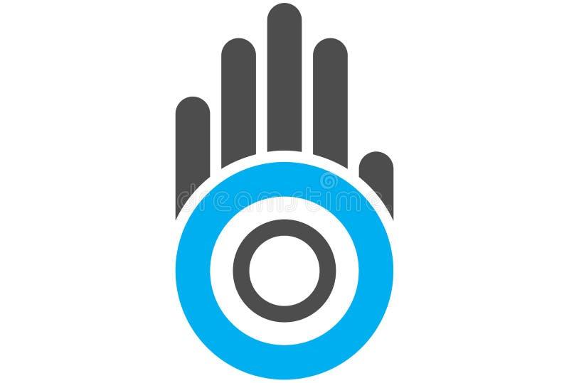 Logotipo da letra o do círculo da mão ilustração royalty free