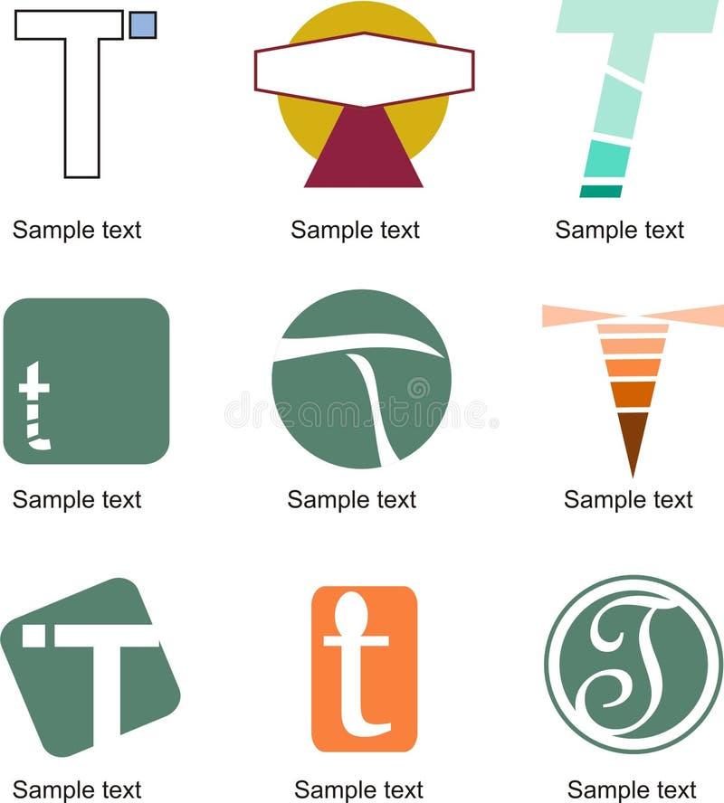 Logotipo da letra T ilustração stock