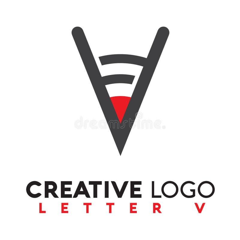 Logotipo da letra v criativo imagem de stock