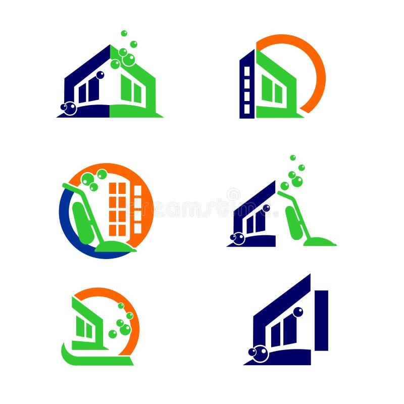 Logotipo da limpeza e elementos home comerciais do projeto do ícone de Apps ilustração royalty free