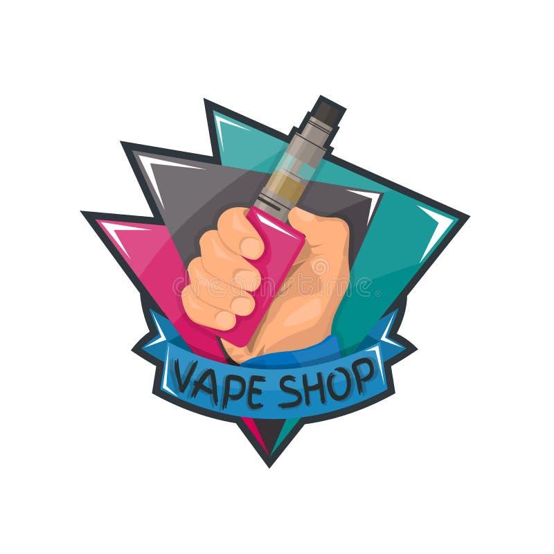 Logotipo da loja de Vape ilustração stock