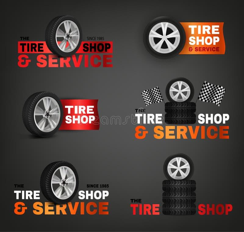 Logotipo da loja do pneu ilustração royalty free