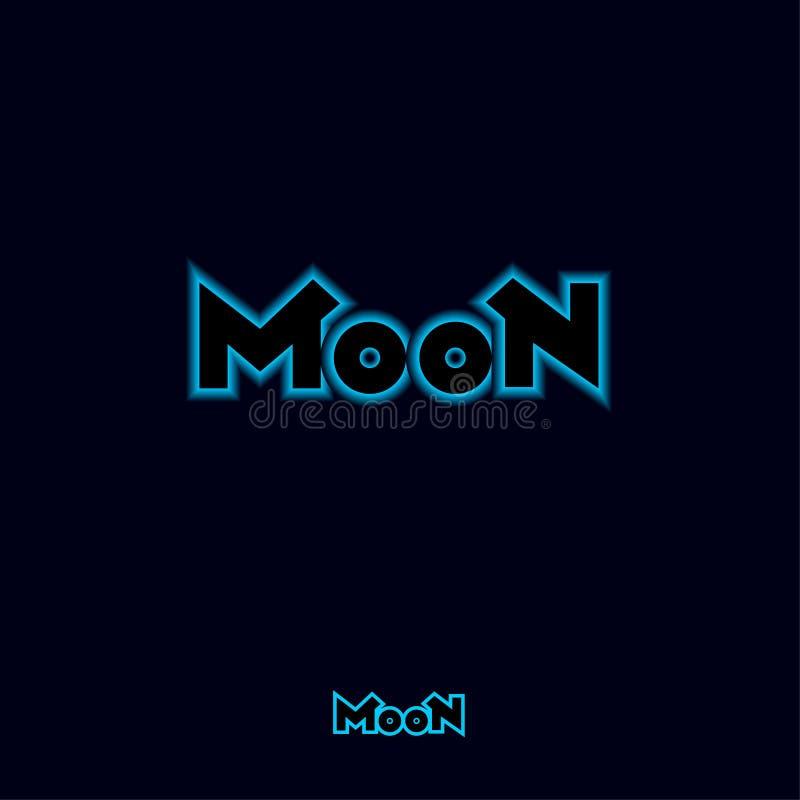 Logotipo da lua Composição da letra Sinal abstrato com luz de néon azul ilustração royalty free