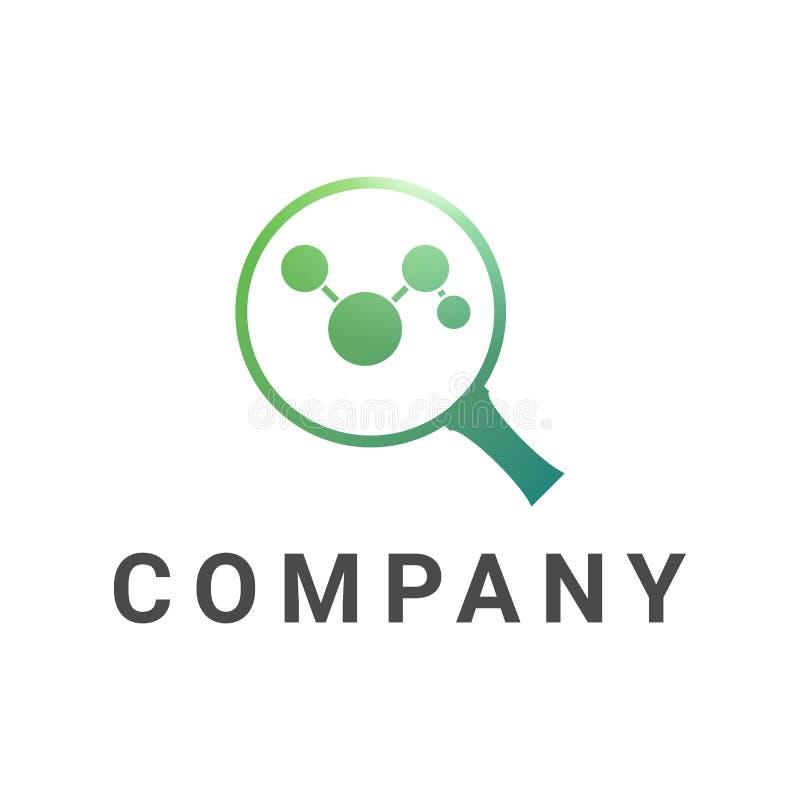 Logotipo da lupa, círculo conectado no vidro ilustração royalty free