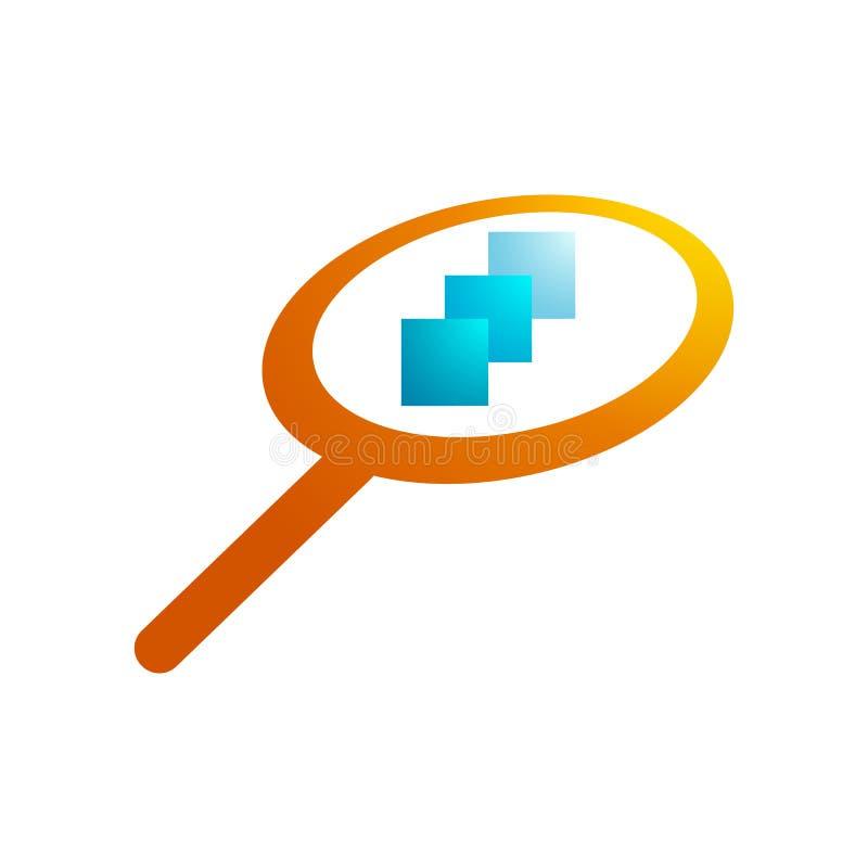 Logotipo da lupa, laranja, papel tr?s no meio ilustração do vetor