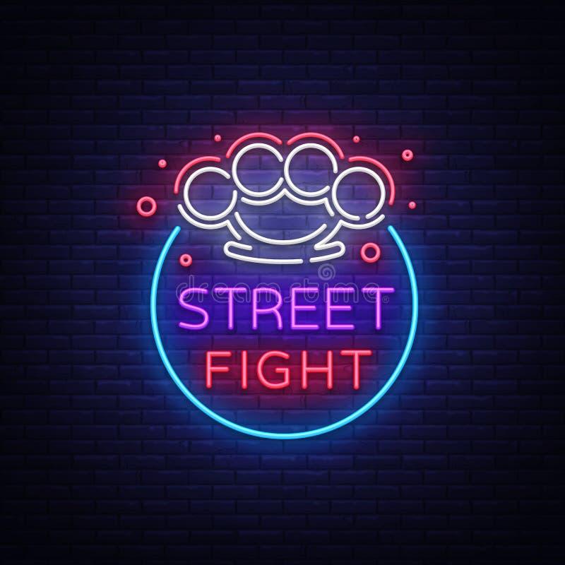 Logotipo da luta da rua no estilo de néon Sinal de néon do clube da luta Logotipo com juntas de bronze Ostenta o sinal de néon na ilustração stock