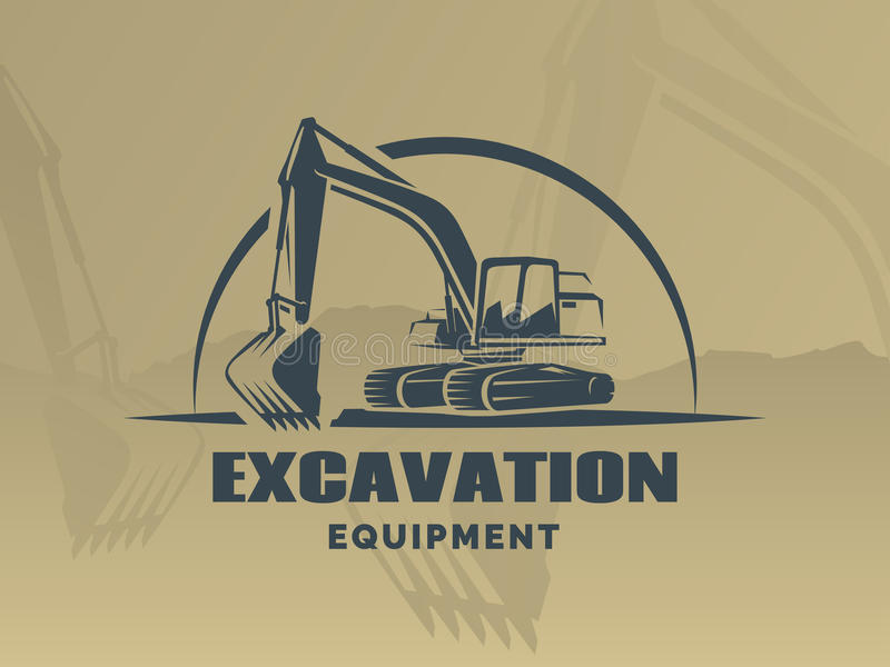 Logotipo da máquina escavadora no fundo marrom ilustração do vetor