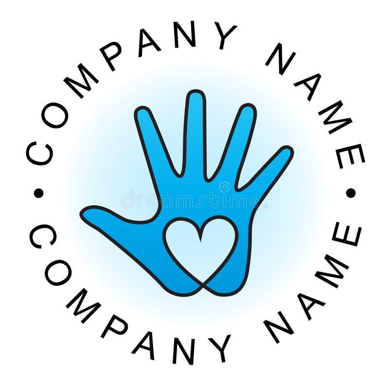 Logotipo da mão do coração ilustração royalty free