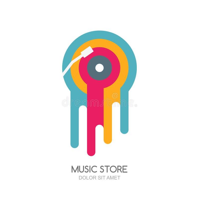 Logotipo da música do vetor, etiqueta ou projeto do emblema Ícone isolado disco derretido multicolorido do vinil ilustração stock