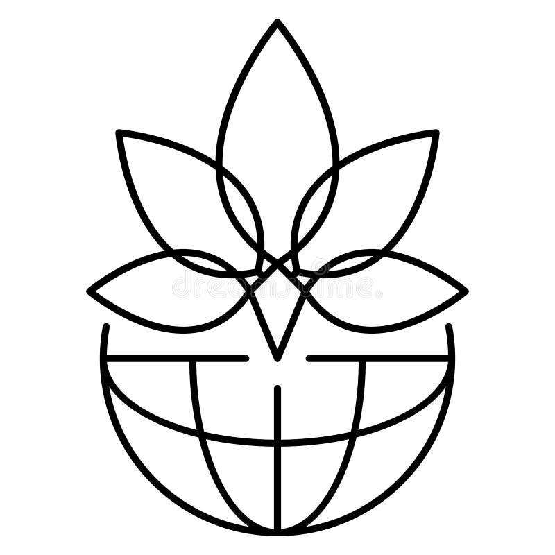 Logotipo da marijuana da folha, estilo do esboço ilustração stock