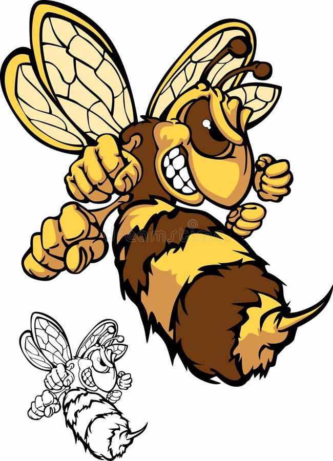Logotipo da mascote da abelha da luta ilustração royalty free