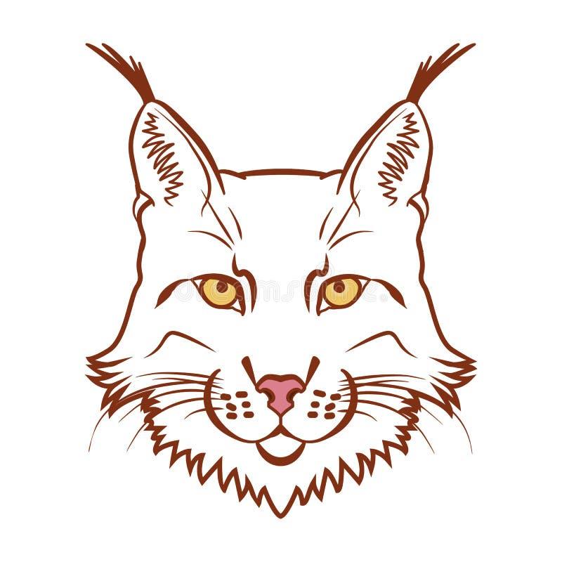 Logotipo da mascote do lince Cabeça da ilustração isolada lince do vetor ilustração do vetor