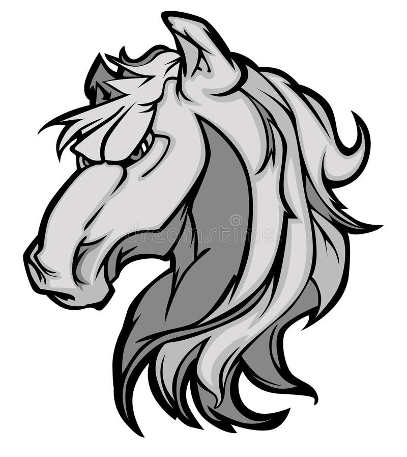 Logotipo da mascote do mustang/bronco ilustração stock