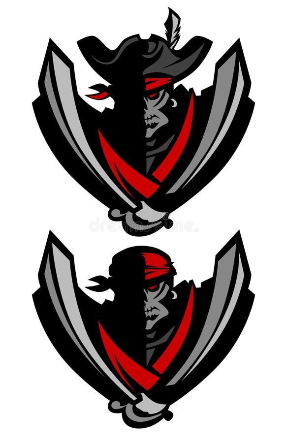 Logotipo da mascote do pirata do avião atacante ilustração royalty free