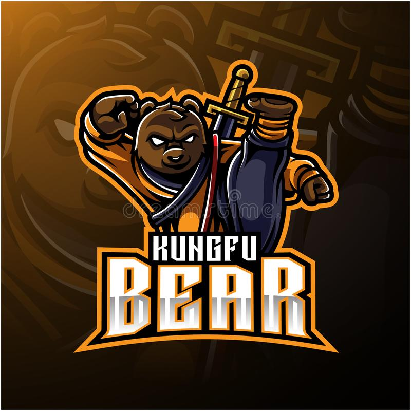 Logotipo da mascote do urso de Kungfu com uma espada ilustração stock