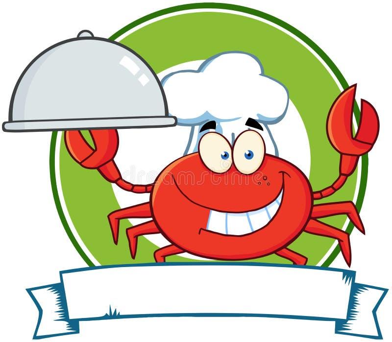 Logotipo da mascote dos desenhos animados do cozinheiro chefe do caranguejo ilustração stock