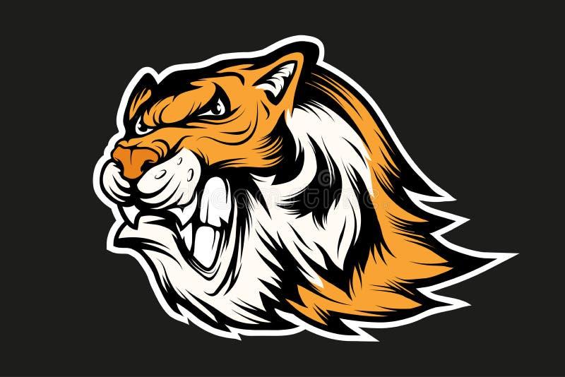 Logotipo da mascote dos esportes do tigre de Bengal Mascote do tigre Cara irritada do tigre ilustração stock