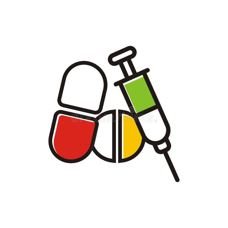 Logotipo da medicina da droga ilustração stock