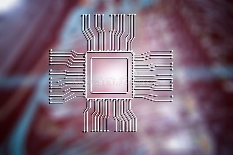 Logotipo da microplaqueta do processador central no fundo abstrato borrado da sala do servidor Conceito da tecnologia fotografia de stock royalty free