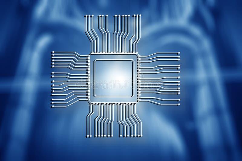 Logotipo da microplaqueta do processador central no fundo abstrato borrado da sala do servidor Conceito da tecnologia imagens de stock royalty free