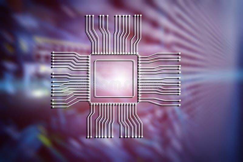Logotipo da microplaqueta do processador central no fundo abstrato borrado da sala do servidor Conceito da tecnologia foto de stock