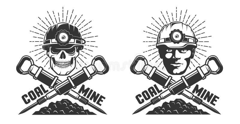 Logotipo da mina com uma cabeça e os jackhammers do mineiro ilustração royalty free