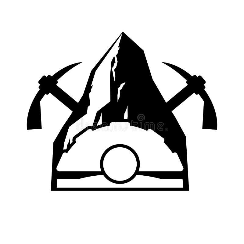 Logotipo da mineração Emblema de Meiner Capacete e picareta e rocha de carvão VE ilustração stock