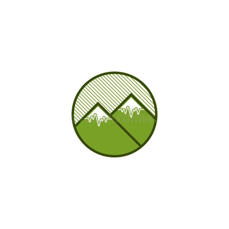 Logotipo da montanha do verde do círculo da natureza ilustração do vetor