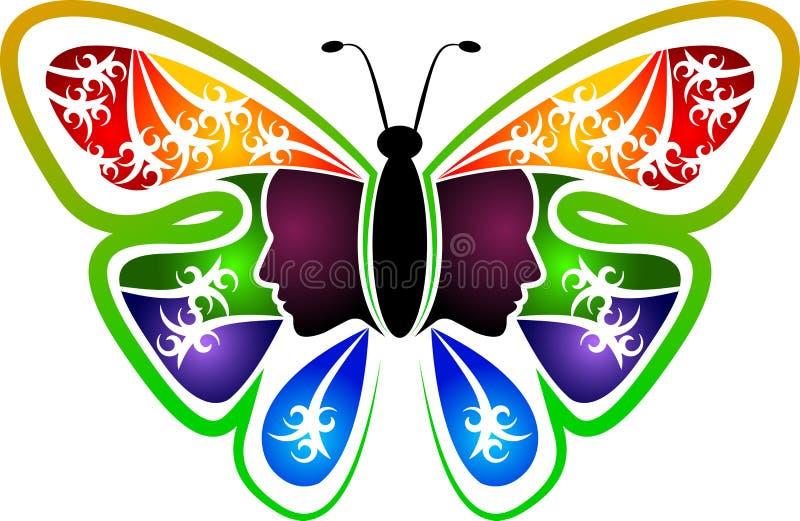 Logotipo da mulher da borboleta ilustração royalty free