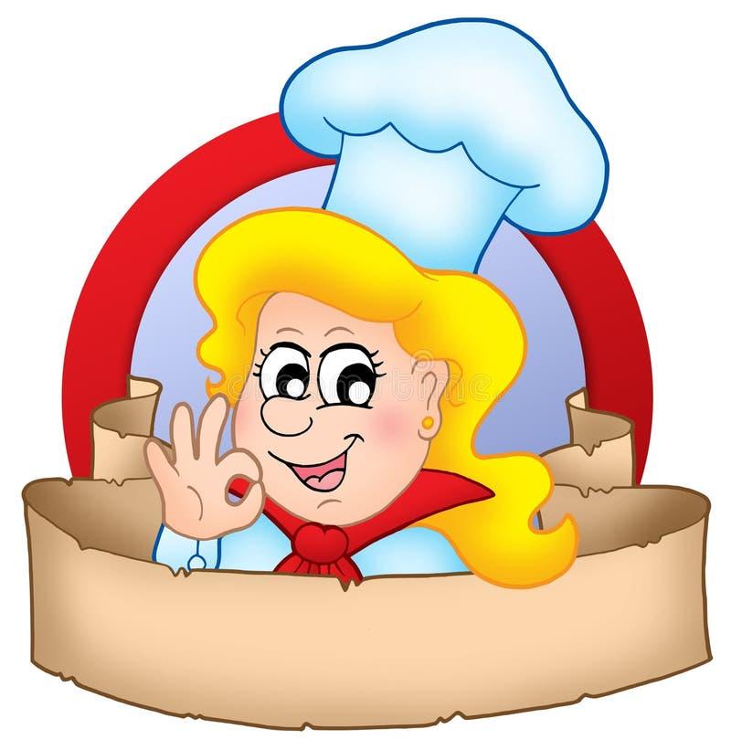 Logotipo da mulher do cozinheiro chefe dos desenhos animados com bandeira ilustração stock