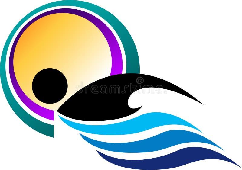 Logotipo da natação ilustração stock