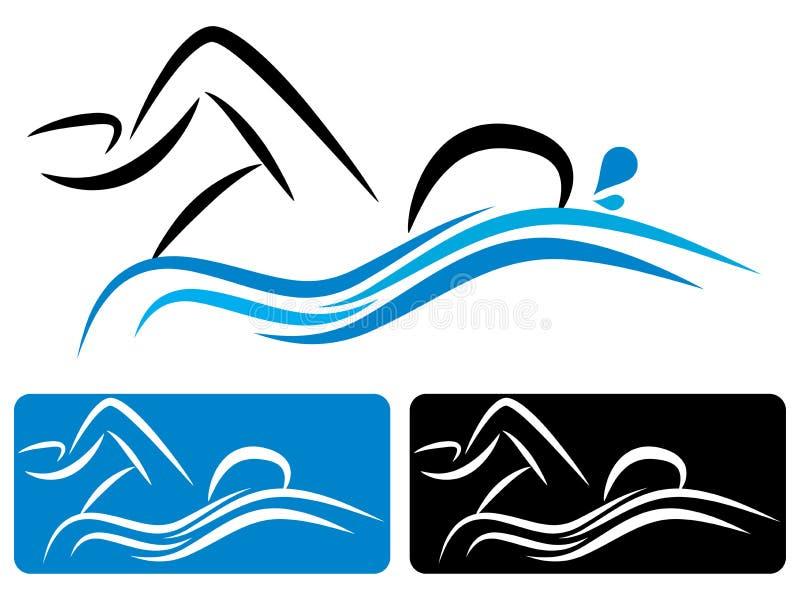 Logotipo da natação ilustração royalty free