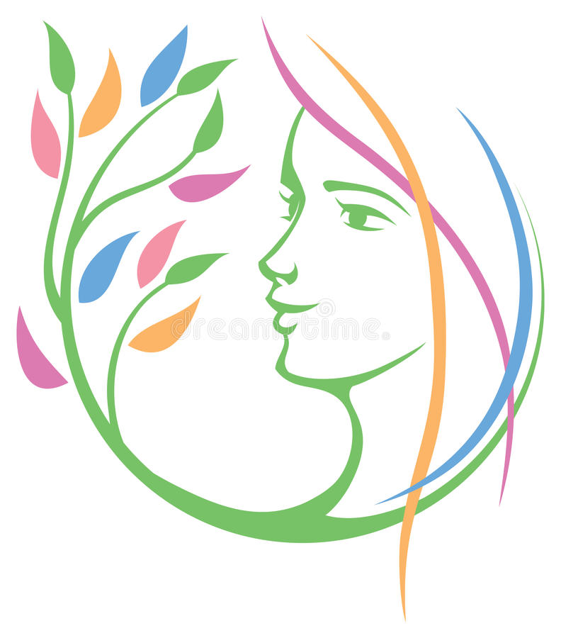 Logotipo da natureza da cara da mulher ilustração royalty free