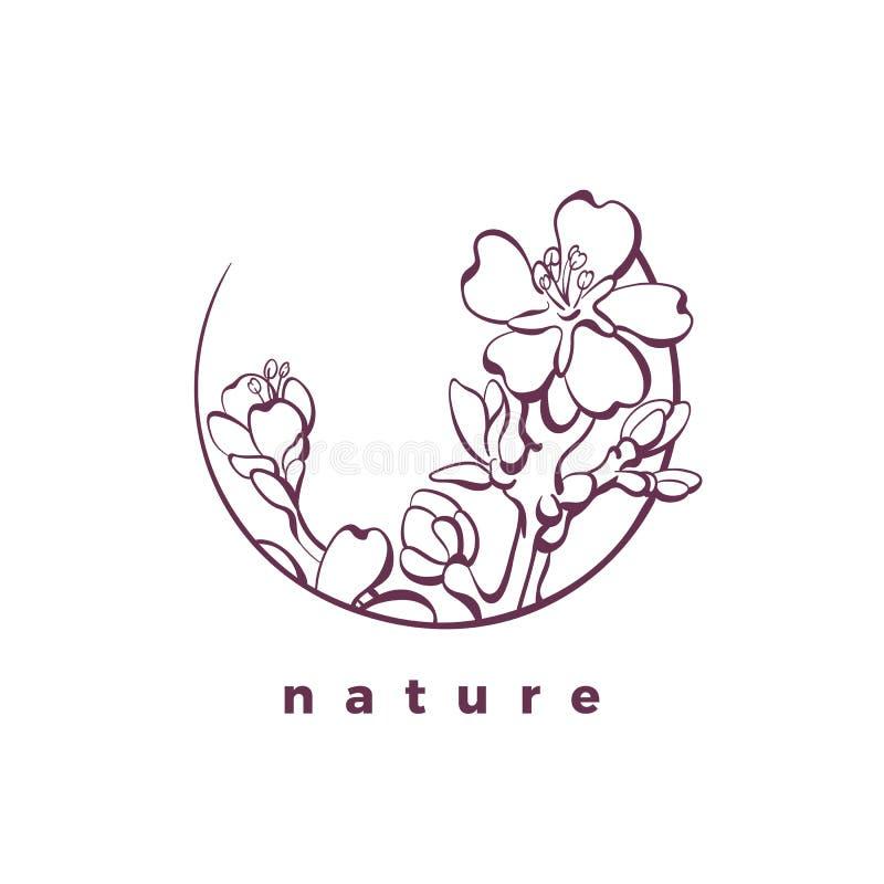 Logotipo da natureza do vetor no círculo Cart?o org?nico ?rvore de am?ndoa ilustração stock